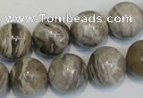 CSL14 15.5 inches 14mm round silver leaf jasper beads wholesale