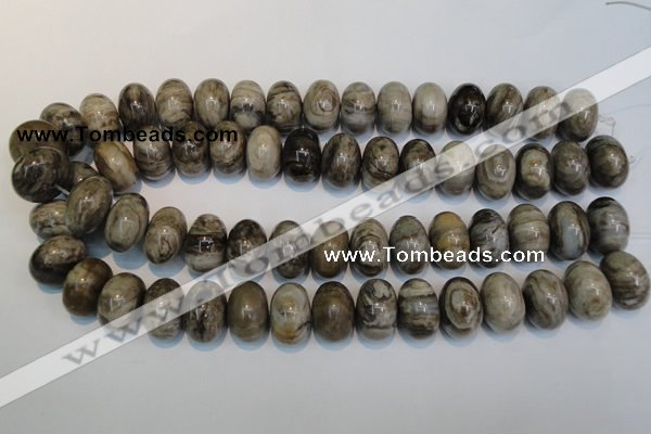CSL20 15.5 inches 13*20mm rondelle silver leaf jasper beads wholesale