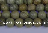 CSL201 15.5 inches 6mm round silver leaf jasper beads wholesale
