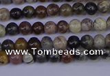 CSL210 15.5 inches 4mm round black silver leaf jasper beads