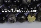 CSL213 15.5 inches 10mm round black silver leaf jasper beads