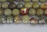 CSL231 15.5 inches 6mm faceted round silver leaf jasper beads
