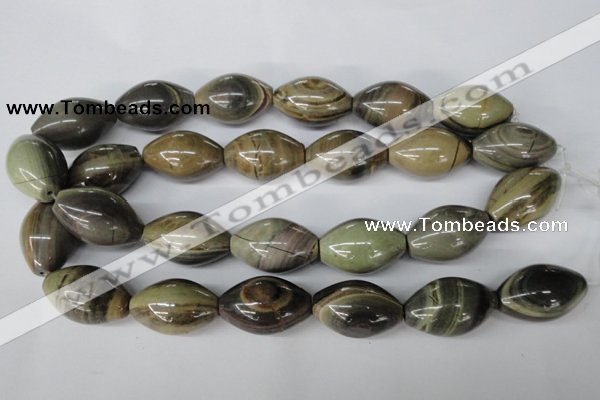CSL25 15.5 inches 20*30mm rice silver leaf jasper beads wholesale