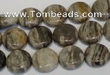 CSL28 15.5 inches 12mm flat round silver leaf jasper beads wholesale