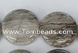 CSL35 15.5 inches 30mm flat round silver leaf jasper beads wholesale
