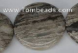 CSL37 15.5 inches 40mm flat round silver leaf jasper beads wholesale