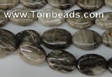 CSL41 15.5 inches 10*14mm oval silver leaf jasper beads wholesale