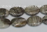 CSL43 15.5 inches 13*18mm oval silver leaf jasper beads wholesale