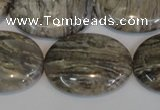 CSL46 15.5 inches 20*30mm oval silver leaf jasper beads wholesale