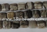 CSL50 15.5 inches 10*10mm square silver leaf jasper beads wholesale