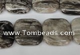 CSL55 15.5 inches 20*20mm square silver leaf jasper beads wholesale