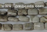 CSL65 15.5 inches 8*12mm rectangle silver leaf jasper beads wholesale