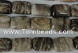 CSL66 15.5 inches 10*14mm rectangle silver leaf jasper beads wholesale