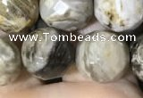 CSL95 15.5 inches 12mm faceted round sliver leaf jasper beads