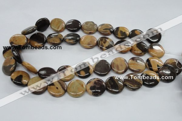 CSN02 15.5 inches 20mm flat round new snake skin jasper beads