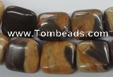 CSN03 15.5 inches 15*15mm square new snake skin jasper beads