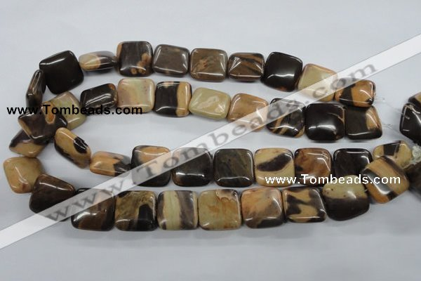 CSN04 15.5 inches 20*20mm square new snake skin jasper beads