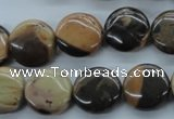 CSN22 15.5 inches 15mm flat round new snake skin jasper beads