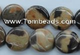 CSN23 15.5 inches 18mm flat round new snake skin jasper beads
