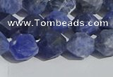 CSO567 15.5 inches 10mm faceted nuggets matte sodalite beads