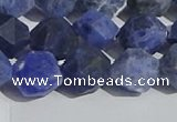 CSO568 15.5 inches 12mm faceted nuggets matte sodalite beads