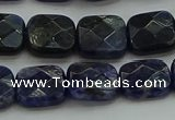 CSO725 15.5 inches 10*10mm faceted square sodalite gemstone beads