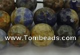 CSO754 15.5 inches 12mm faceted round orange sodalite beads