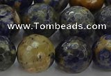 CSO756 15.5 inches 16mm faceted round orange sodalite beads