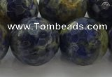 CSO758 15.5 inches 20mm faceted round orange sodalite beads