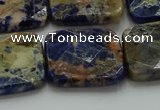 CSO785 15.5 inches 25*25mm faceted square orange sodalite beads