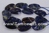 CSO821 15.5 inches 30*50mm - 32*52mm flat teardrop orange sodalite beads