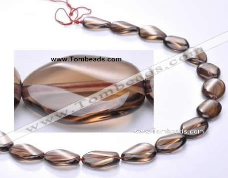 CSQ02 10*14mm twisted oval natural smoky quartz beads Wholesale