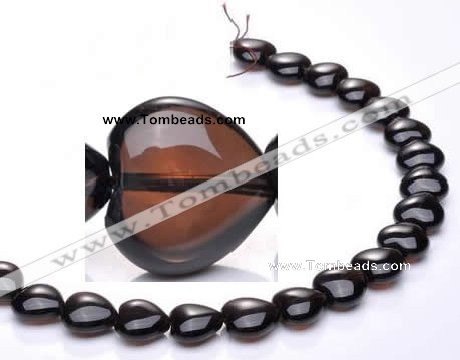 CSQ05 14*14mm heart A grade natural smoky quartz beads Wholesale