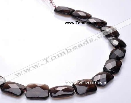 CSQ07 15*20mm faceted rectangle natural smoky quartz beads
