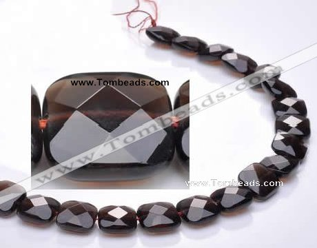 CSQ09 14*14mm faceted square natural smoky quartz bead Wholesale