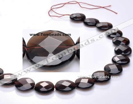 CSQ10 18mm faceted coin A grade natural smoky quartz beads