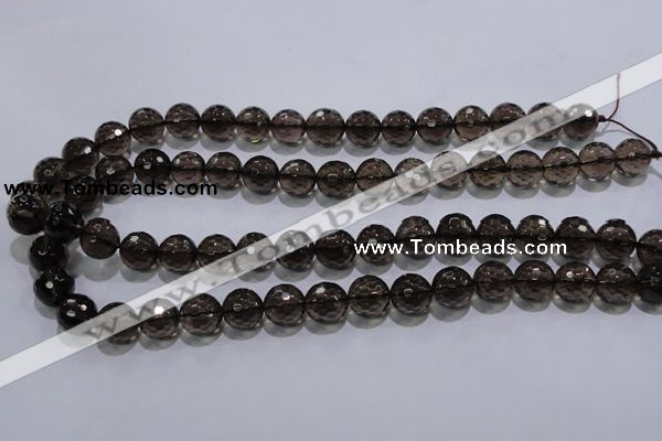 CSQ104 15.5 inches 12mm faceted round grade AA natural smoky quartz beads