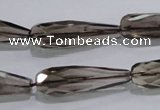 CSQ115 10*30mm faceted teardrop grade AA natural smoky quartz beads