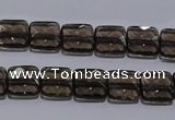 CSQ120 10*10mm facetad square grade AA natural smoky quartz beads