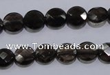 CSQ123 10mm faceted flat round grade AA natural smoky quartz beads