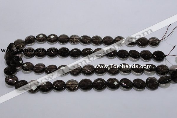 CSQ125 15.5 inches 14mm faceted flat round grade AA natural smoky quartz be