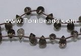CSQ126 5*7mm top-drilled faceted teardrop grade AA smoky quartz beads