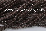 CSQ128 15.5 inches 3mm faceted round grade AA natural smoky quartz beads