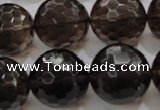 CSQ134 15.5 inches 20mm faceted round grade AA natural smoky quartz beads