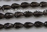CSQ135 8*12mm faceted teardrop grade AA natural smoky quartz beads