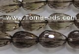 CSQ138 12*18mm faceted teardrop grade AA natural smoky quartz beads