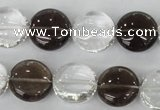 CSQ151 15.5 inches 15mm flat round white crystal & smoky quartz beads