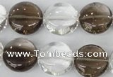 CSQ152 15.5 inches 18mm flat round white crystal & smoky quartz beads