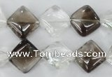 CSQ154 15.5 inches 14*14mm diamond white crystal & smoky quartz beads