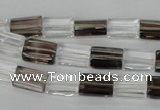 CSQ155 15.5 inches 8*12mm rectangle white crystal & smoky quartz beads